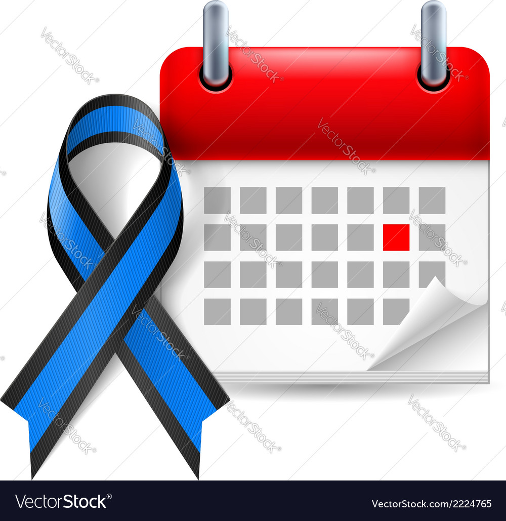 Blue and black awareness ribbon and calendar vector | Price: 1 Credit (USD $1)