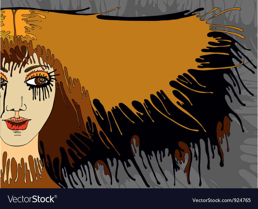 Girl face hair banner vector | Price: 1 Credit (USD $1)