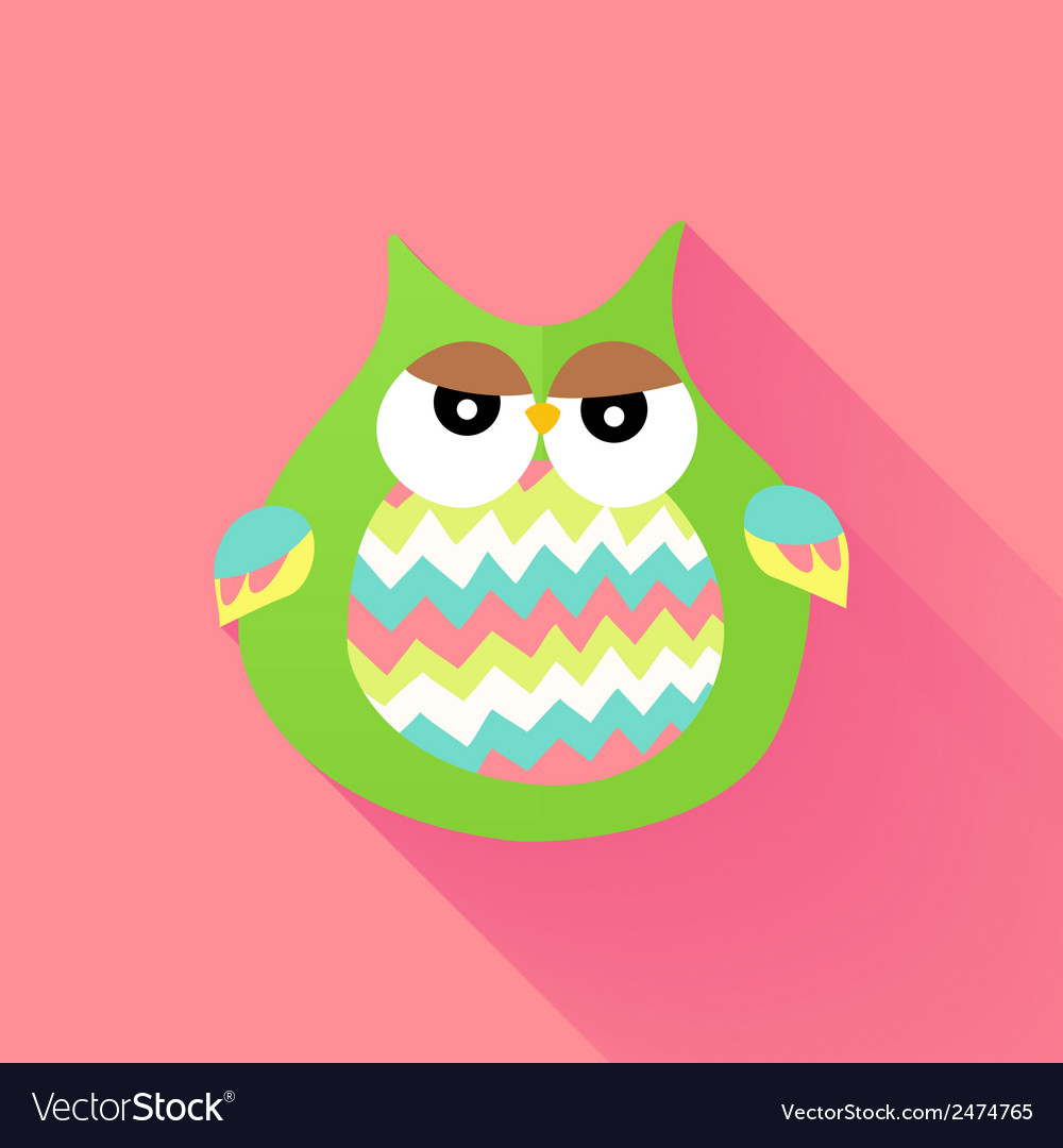 Green flat owl over pink vector | Price: 1 Credit (USD $1)