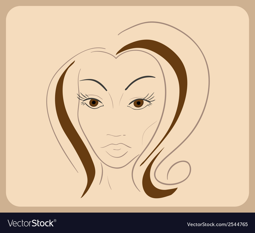 Handdrawn woman face with sensual eyes and brown vector | Price: 1 Credit (USD $1)