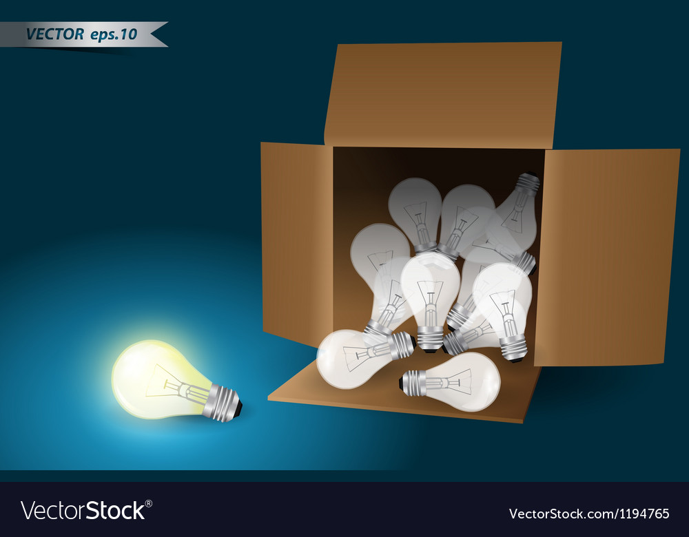 Idea concept bulb in box vector | Price: 1 Credit (USD $1)
