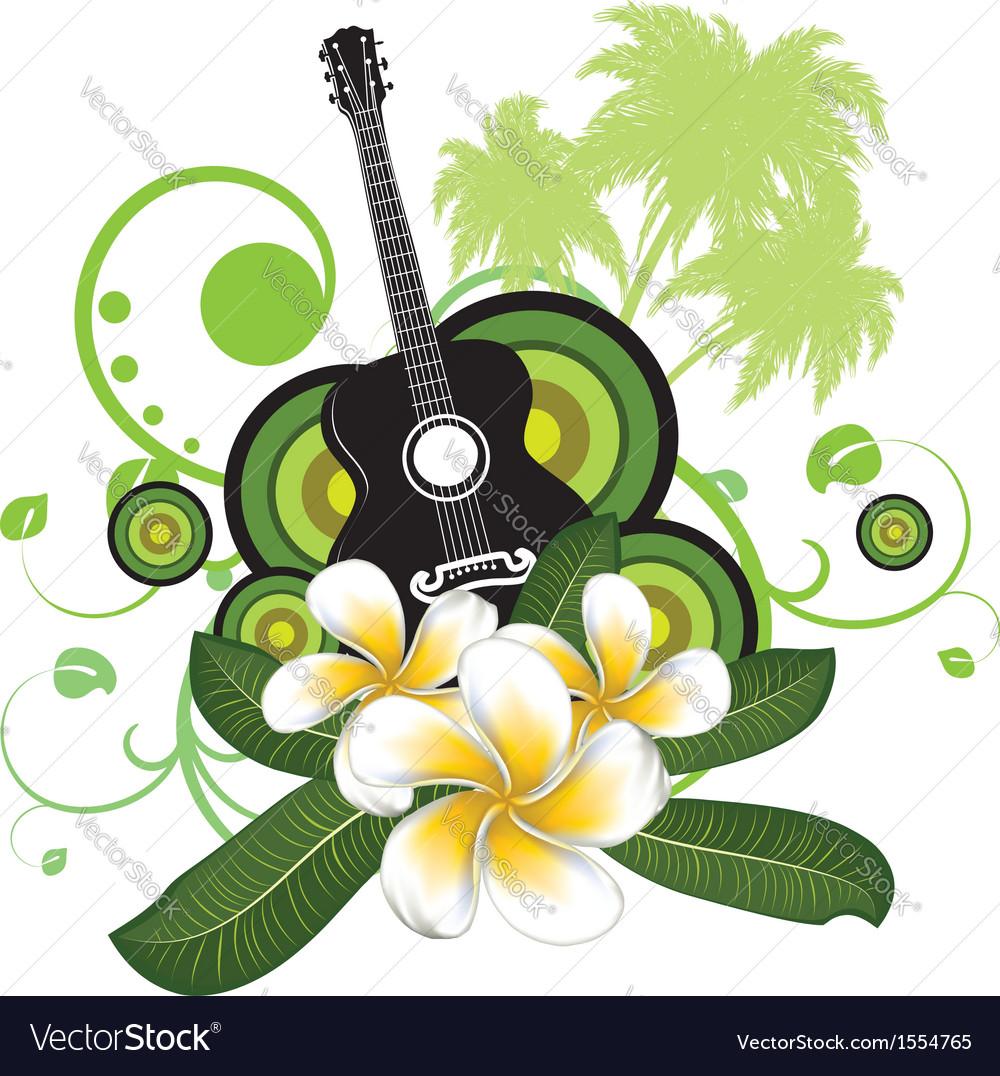 Plumeria flowers and guitar vector   Price: 1 Credit (USD $1)