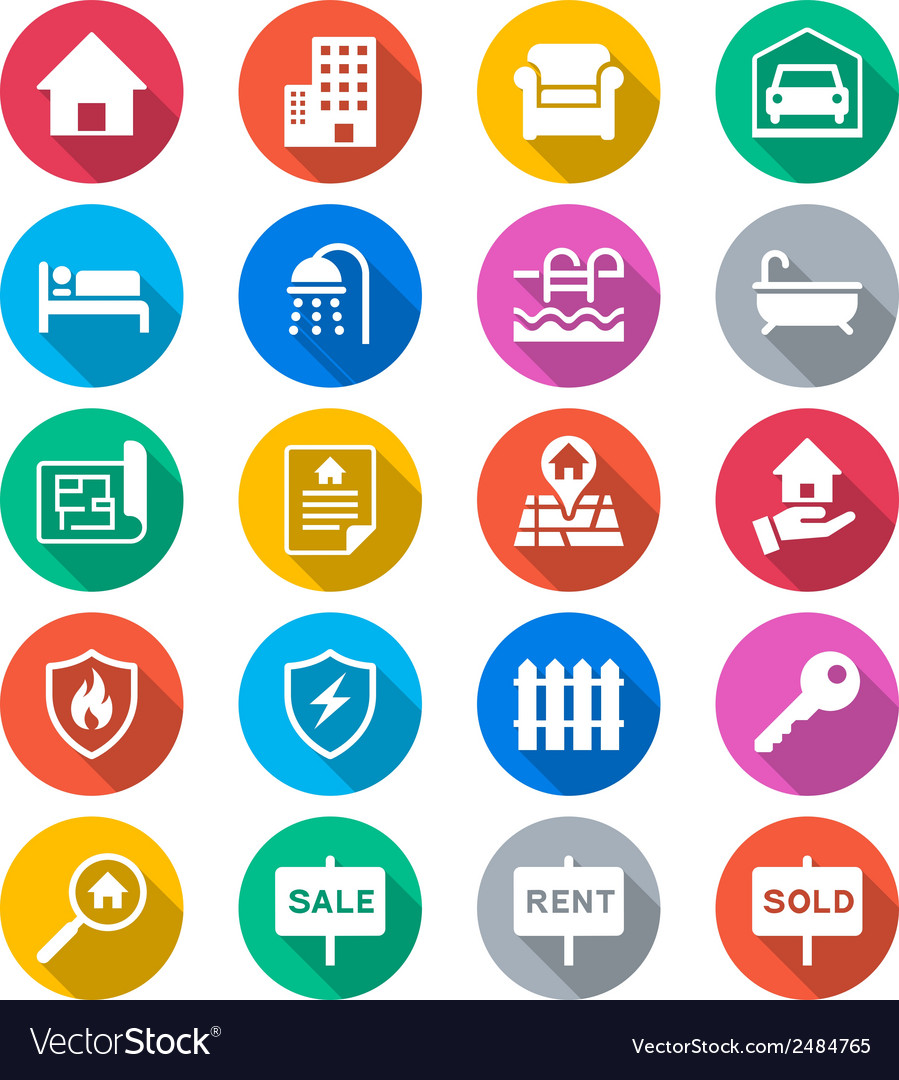 Real estate flat color icons vector | Price: 1 Credit (USD $1)
