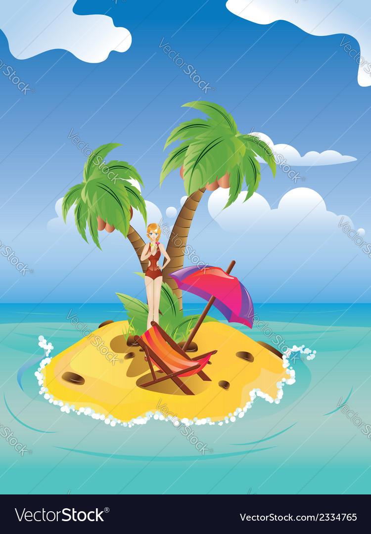 Red bikini girl on island vector | Price: 1 Credit (USD $1)