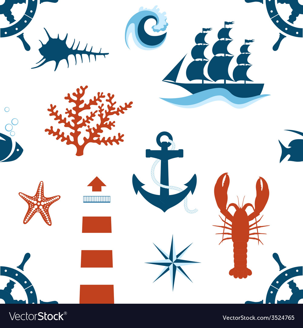 Sea theme seamless pattern vector | Price: 1 Credit (USD $1)