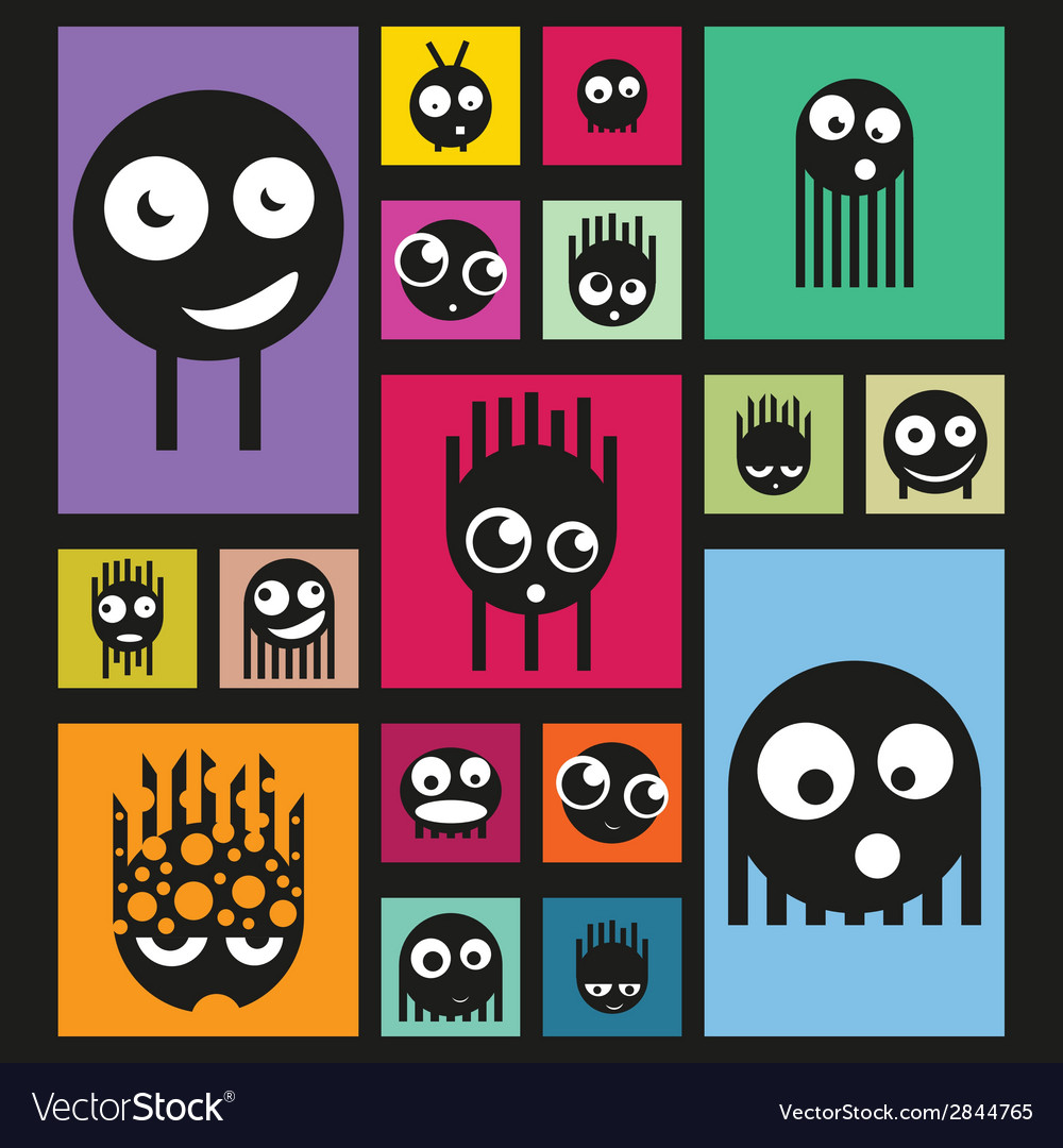 Set of funny monsters on bright background vector | Price: 1 Credit (USD $1)