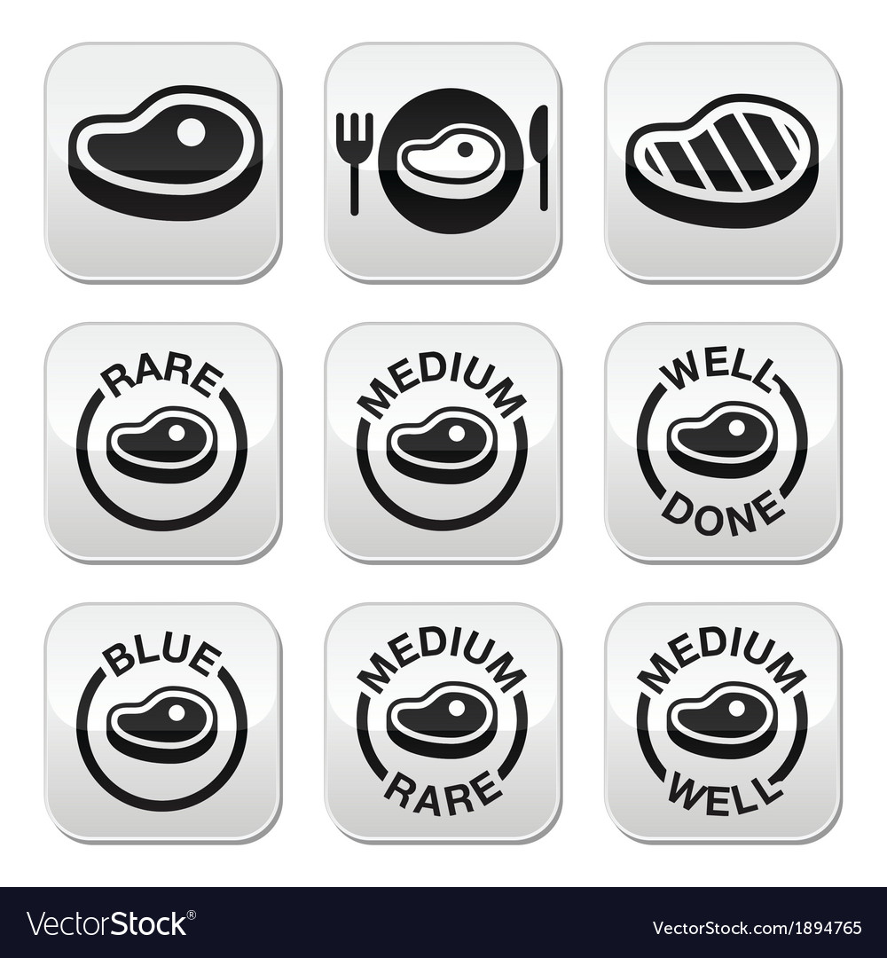 Steak - medium rare well done grilled buttons s vector | Price: 1 Credit (USD $1)