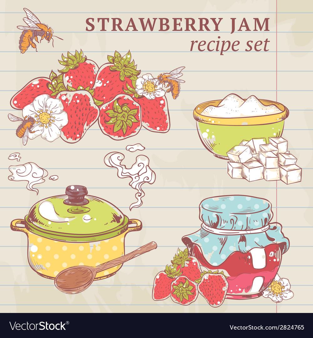 Strawberry jam ingredients vector | Price: 1 Credit (USD $1)