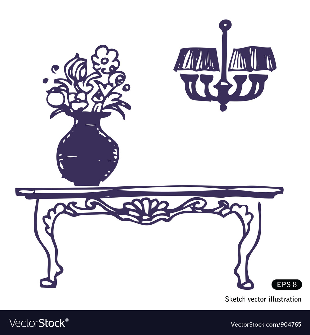Vintage table vase with flowers and chandelier vector | Price: 1 Credit (USD $1)