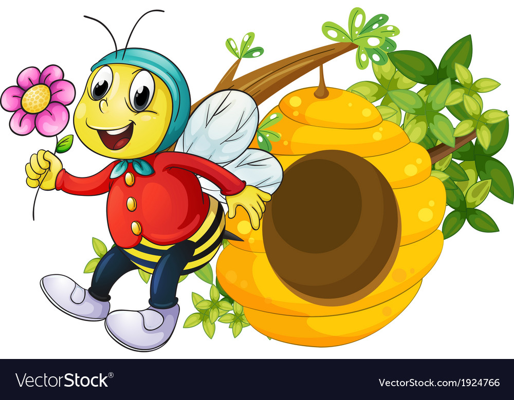 A bee holding a flower vector | Price: 3 Credit (USD $3)