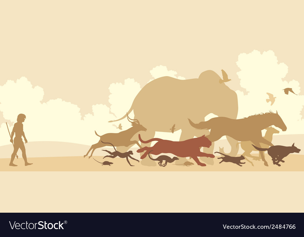 Animals fleeing man vector | Price: 1 Credit (USD $1)