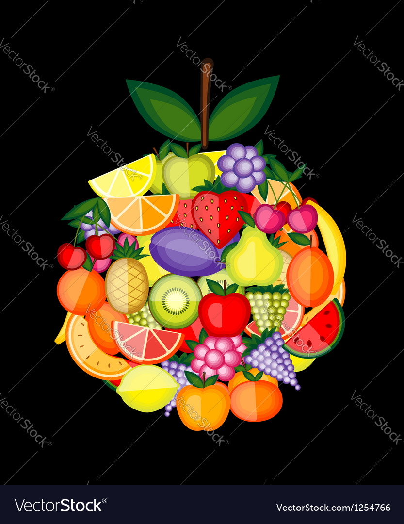 Apple shape made from fruits for your design vector | Price: 1 Credit (USD $1)