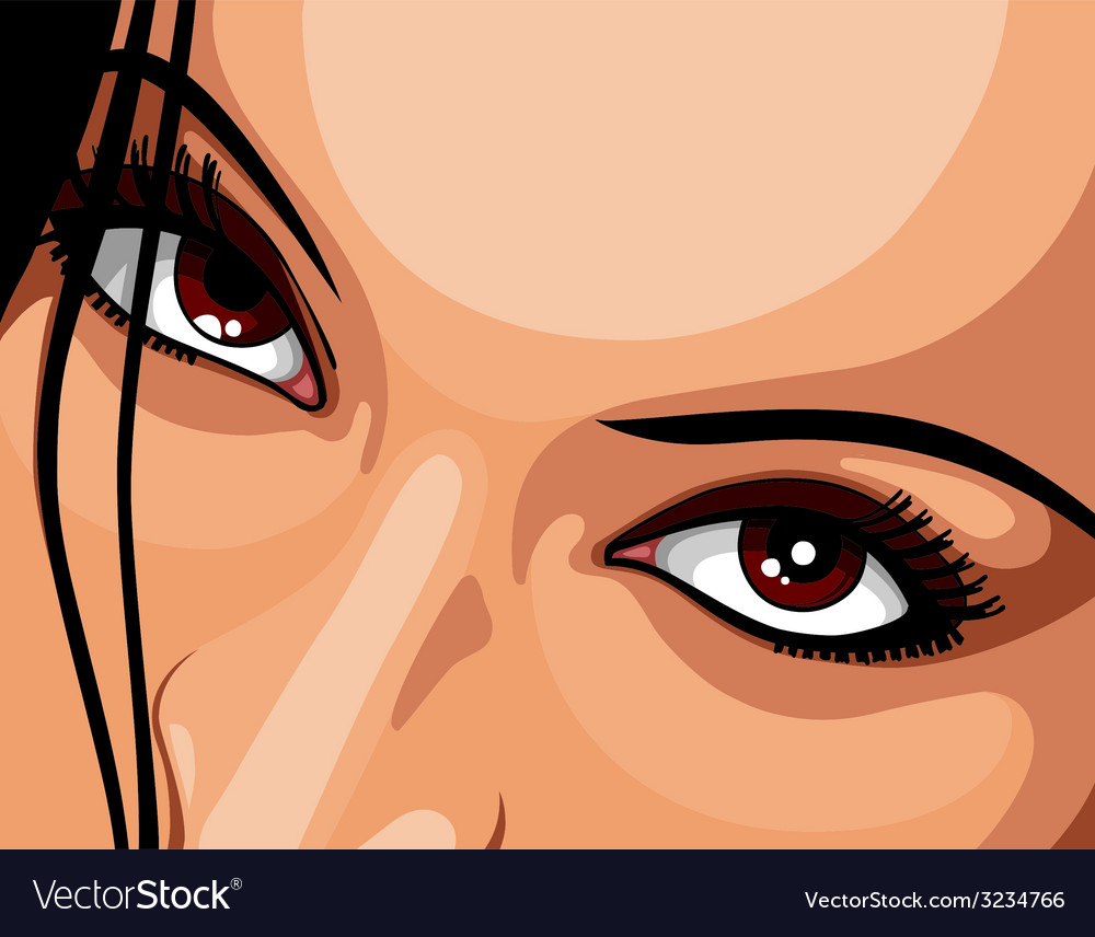 Beautiful brown eyes woman vector | Price: 1 Credit (USD $1)