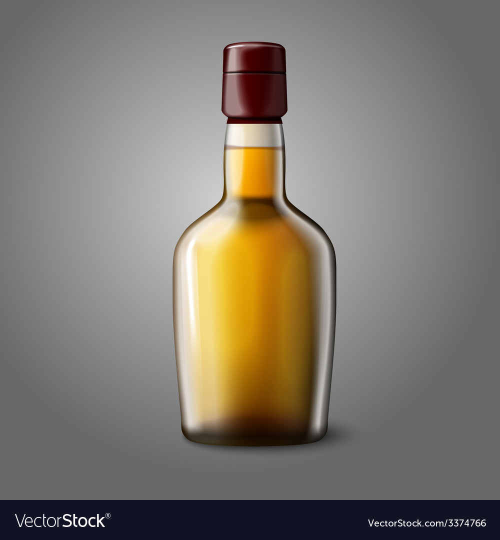 Blank realistic whiskey bottle isolated on grey vector | Price: 3 Credit (USD $3)
