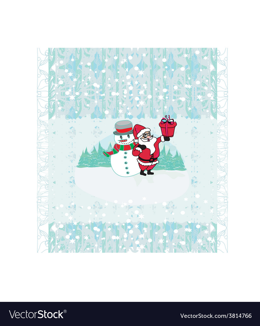 Christmas background santa and snowman drawing vector | Price: 1 Credit (USD $1)