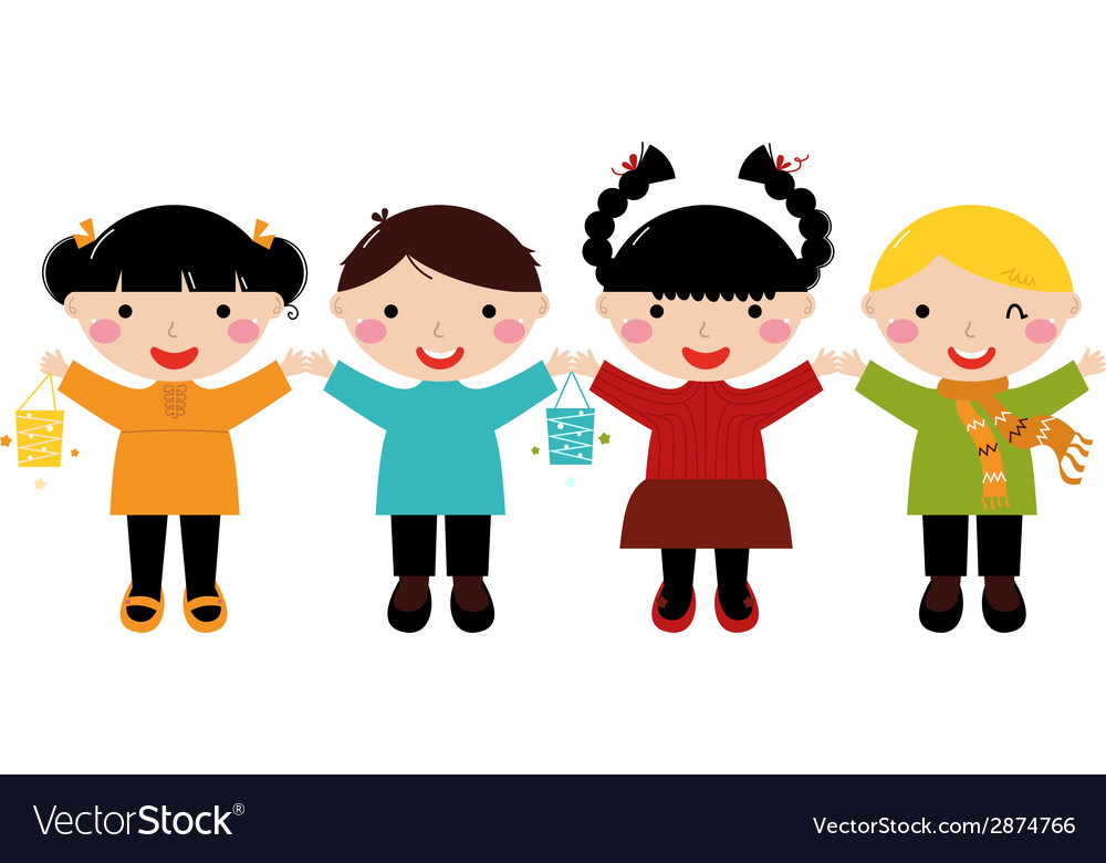 Cute autumn kids in row holding hands vector | Price: 1 Credit (USD $1)