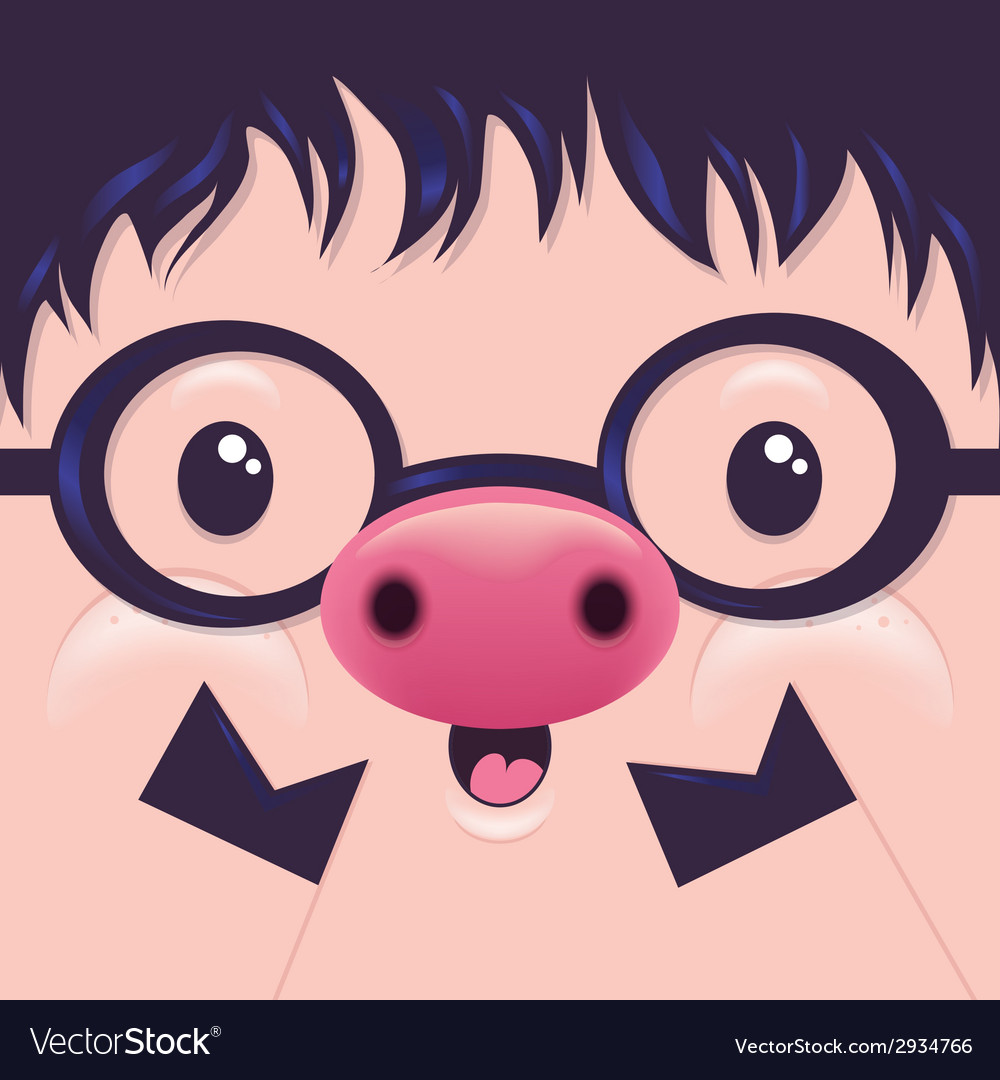 Cute icon pig face with emotions character vector | Price: 1 Credit (USD $1)