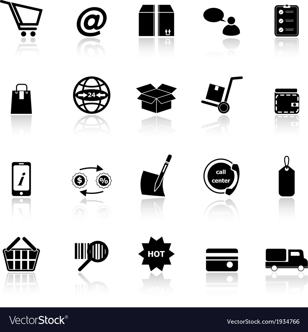 Ecommerce icons with reflect on white background vector | Price: 1 Credit (USD $1)