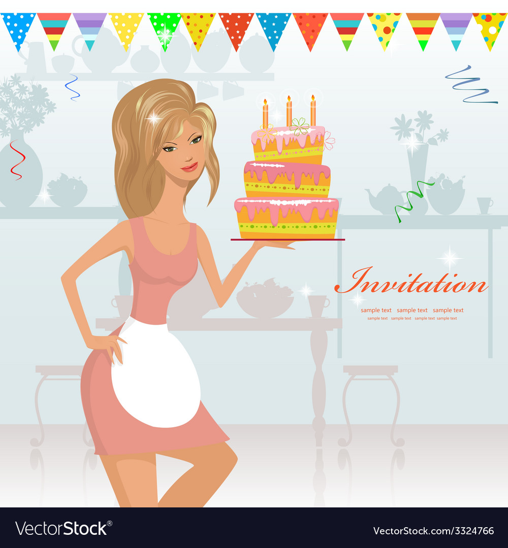 Girl with birthday cake with candles vector | Price: 1 Credit (USD $1)