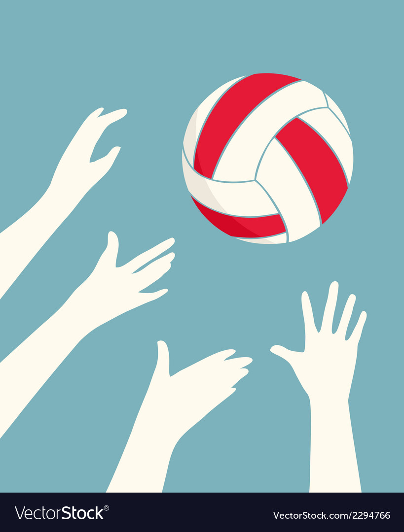 Hands playing volleyball vector | Price: 1 Credit (USD $1)