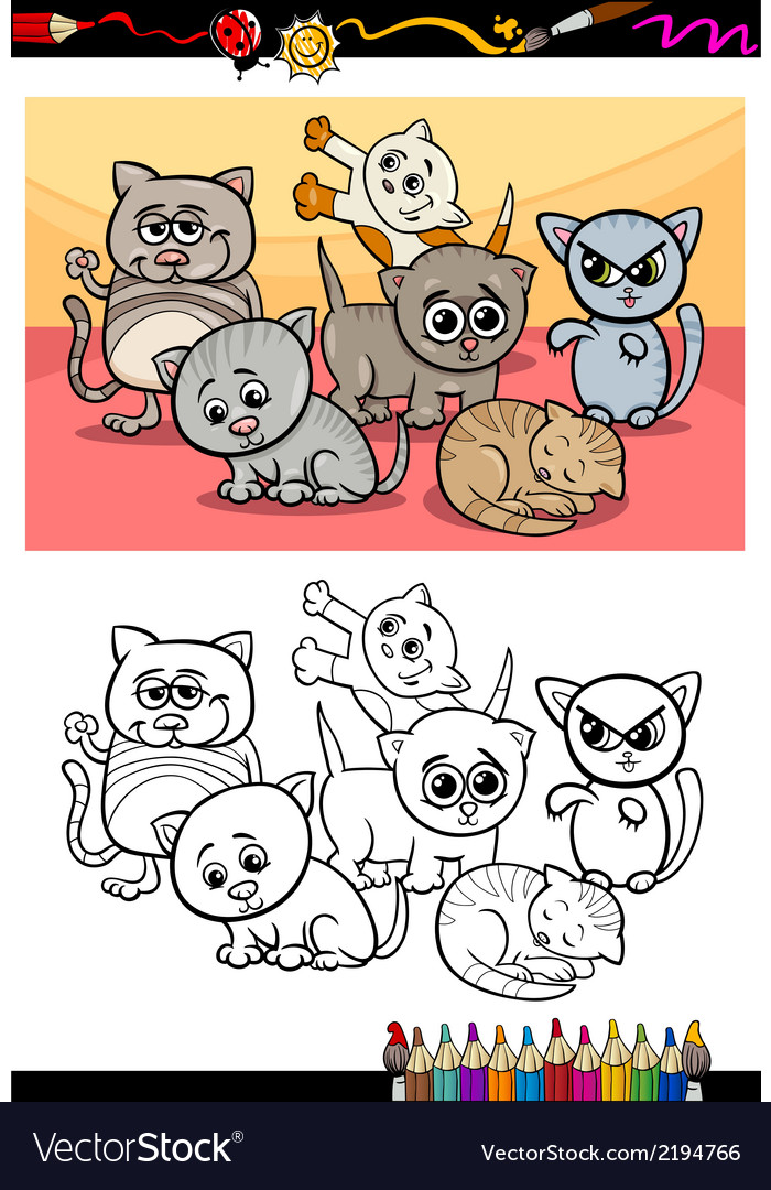 Kittens group cartoon coloring book vector | Price: 1 Credit (USD $1)
