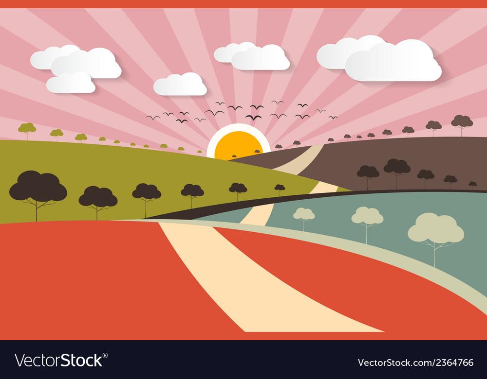 Morning - evening rural paper landscape background vector | Price: 1 Credit (USD $1)
