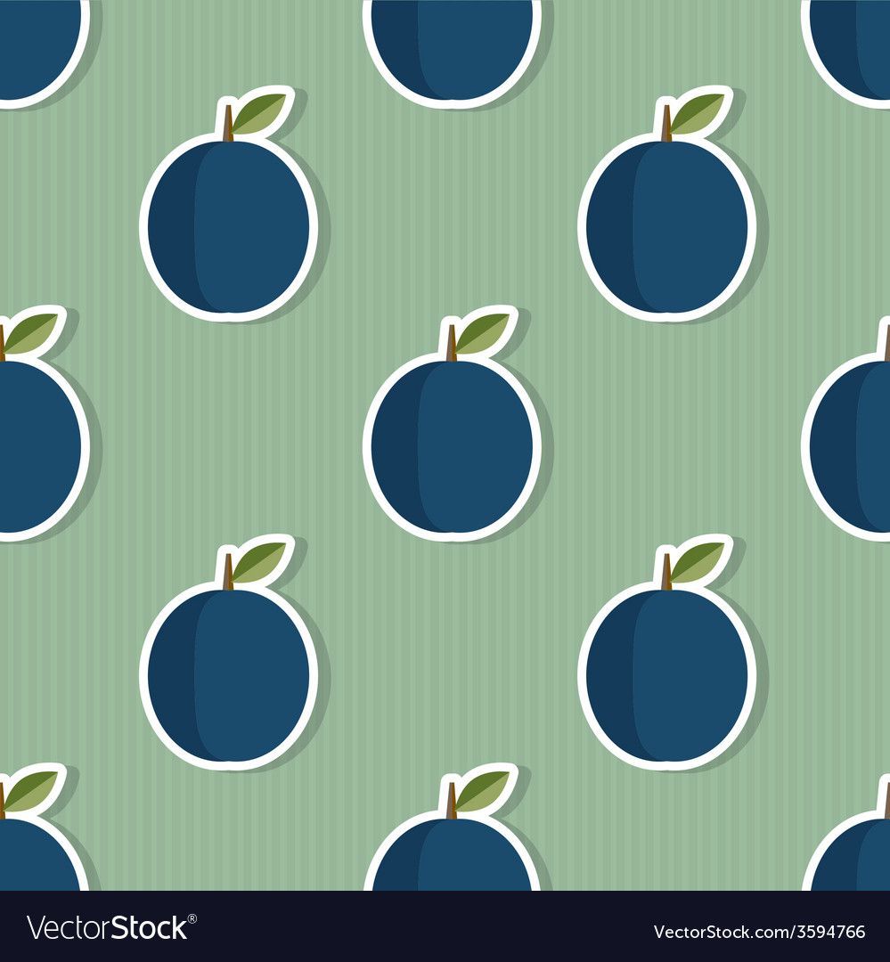 Plum pattern seamless texture with ripe plums vector | Price: 1 Credit (USD $1)