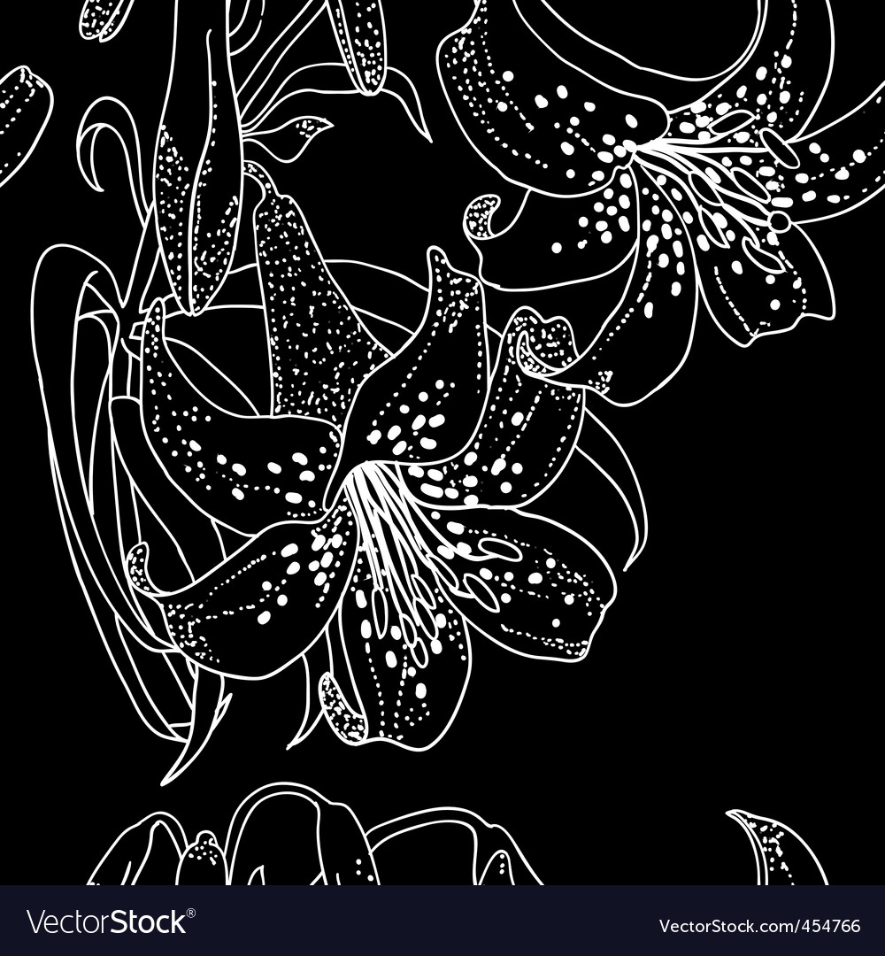 Seamless wallpaper with lily flowers vector | Price: 1 Credit (USD $1)