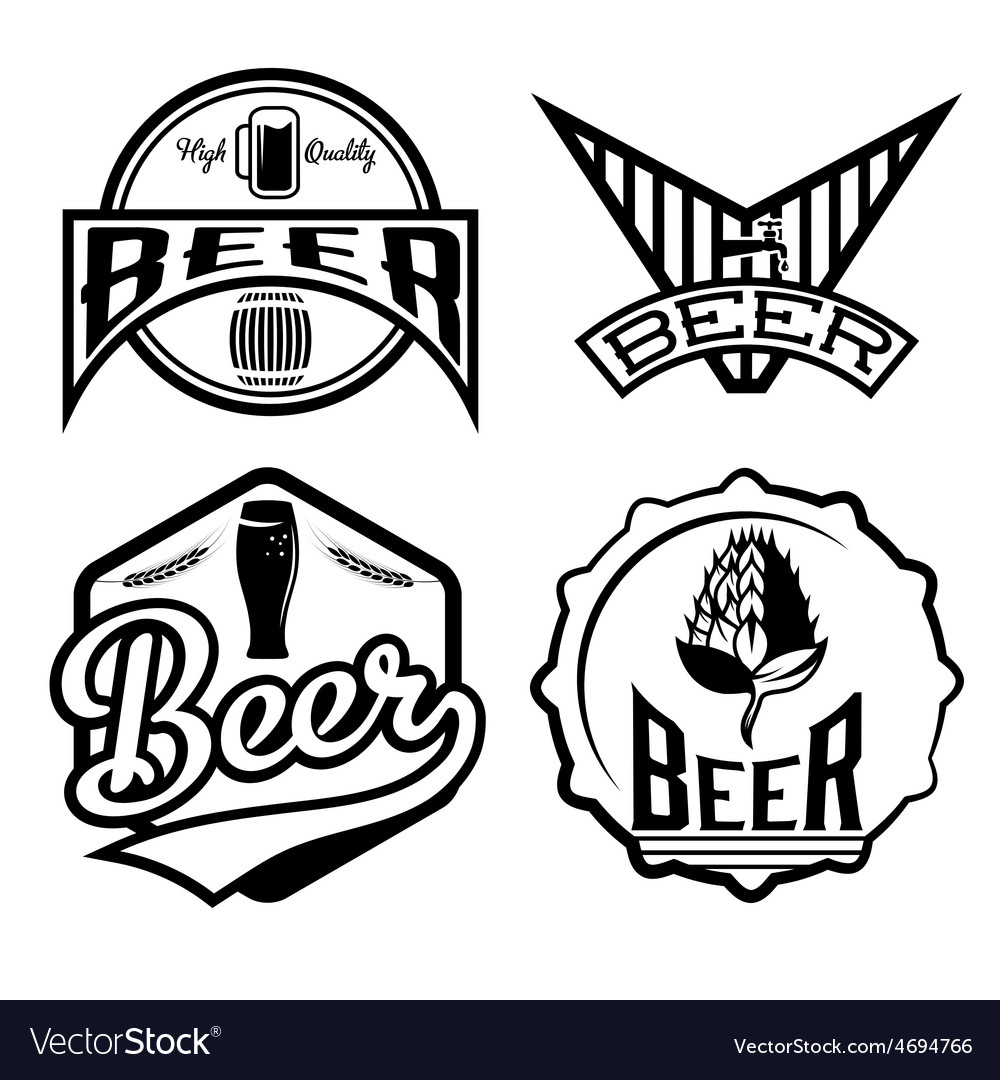 Set of beer vintage labels vector | Price: 1 Credit (USD $1)