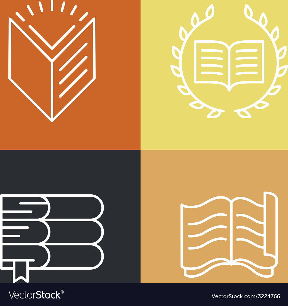 Set of outline education logos and icons vector | Price: 1 Credit (USD $1)