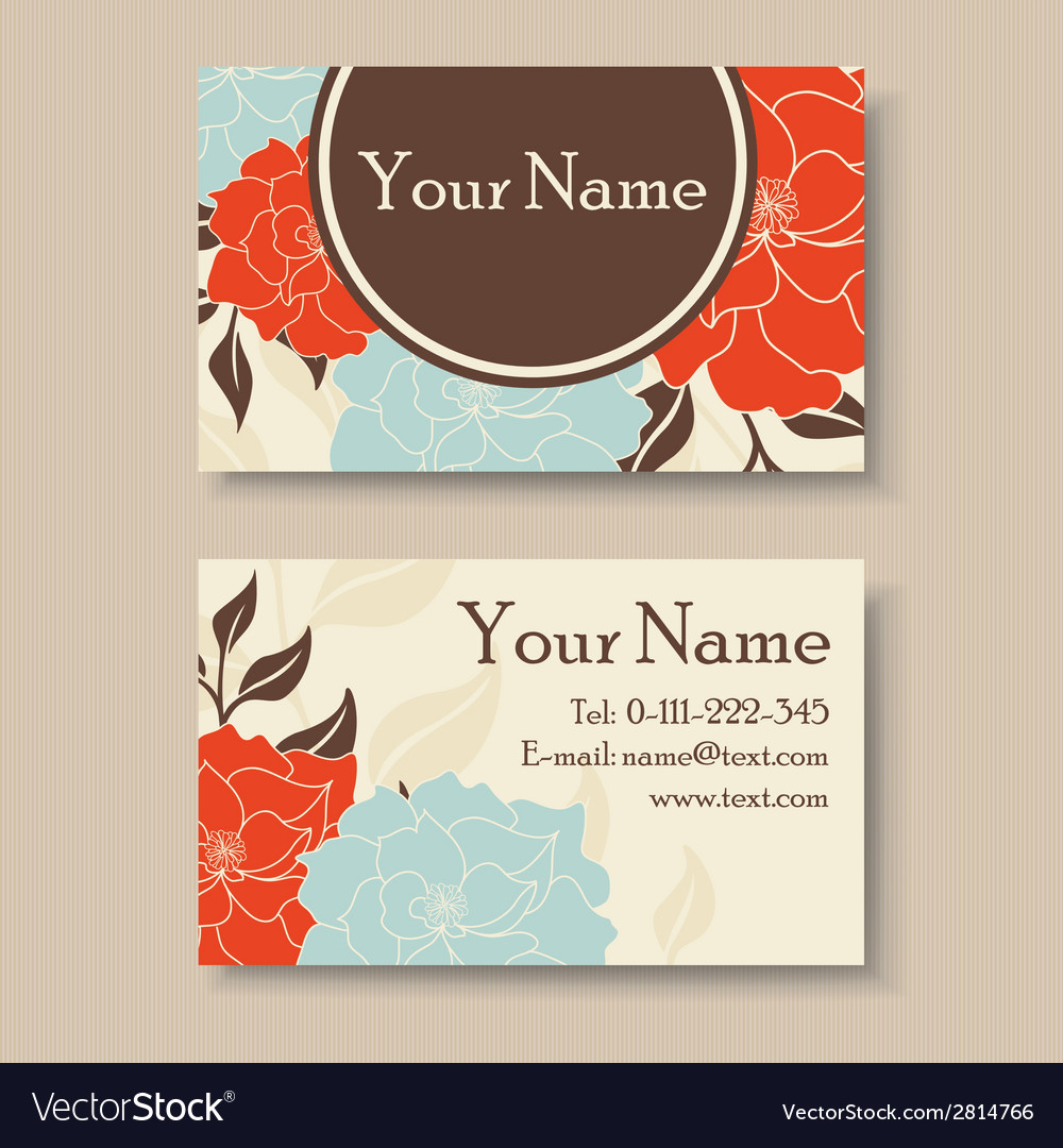 Visit card with flowers vector | Price: 1 Credit (USD $1)