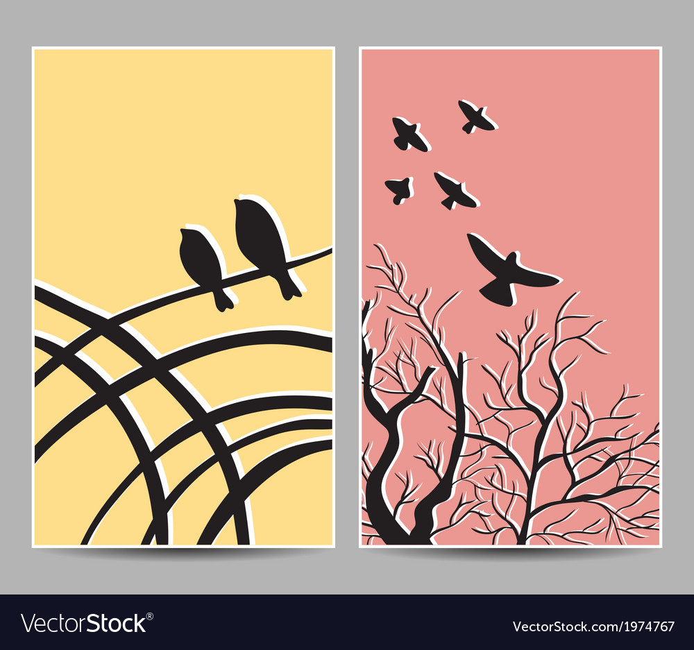 Card birds tree vector | Price: 1 Credit (USD $1)