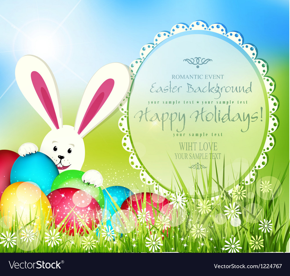 Easter background with frame for text rabbit and e vector | Price: 1 Credit (USD $1)