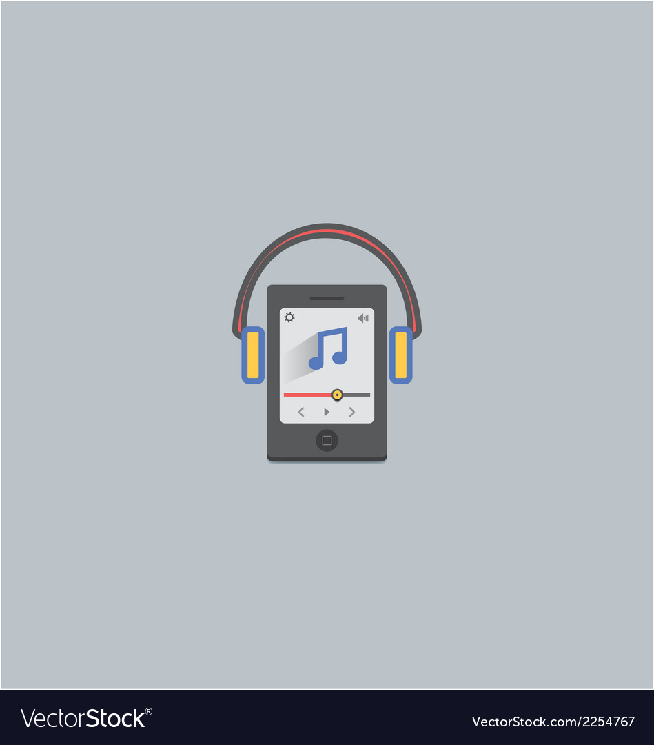 Mobile music with headphone vector | Price: 1 Credit (USD $1)