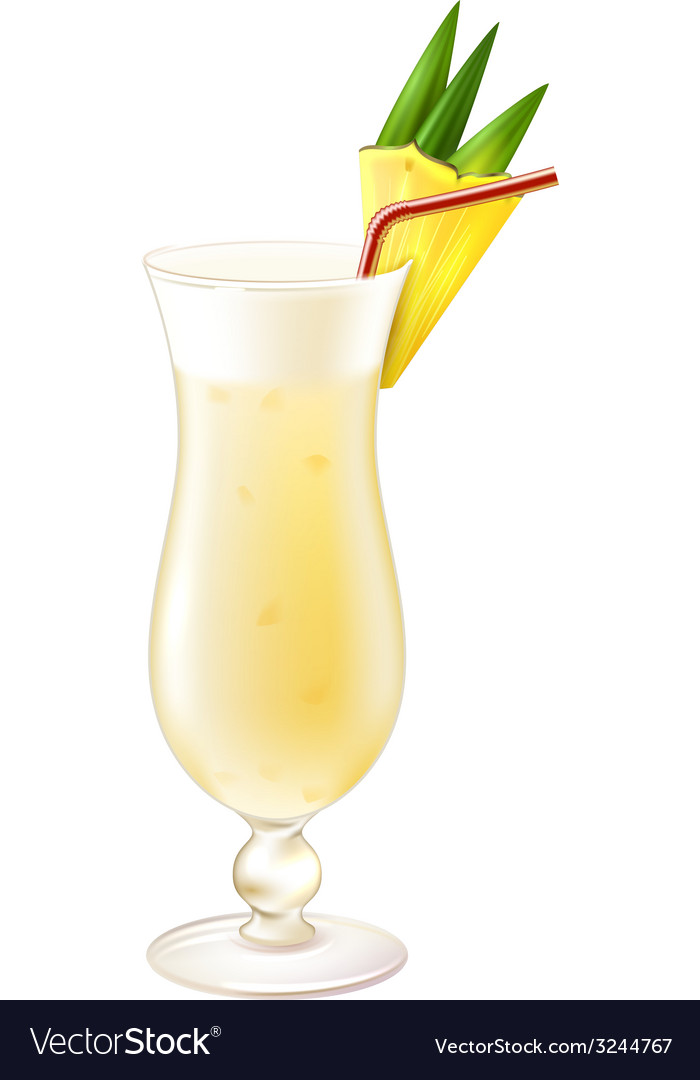 Pina colada cocktail realistic vector | Price: 1 Credit (USD $1)