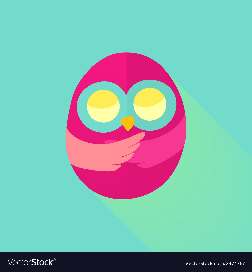 Pink flat owl over mint vector | Price: 1 Credit (USD $1)