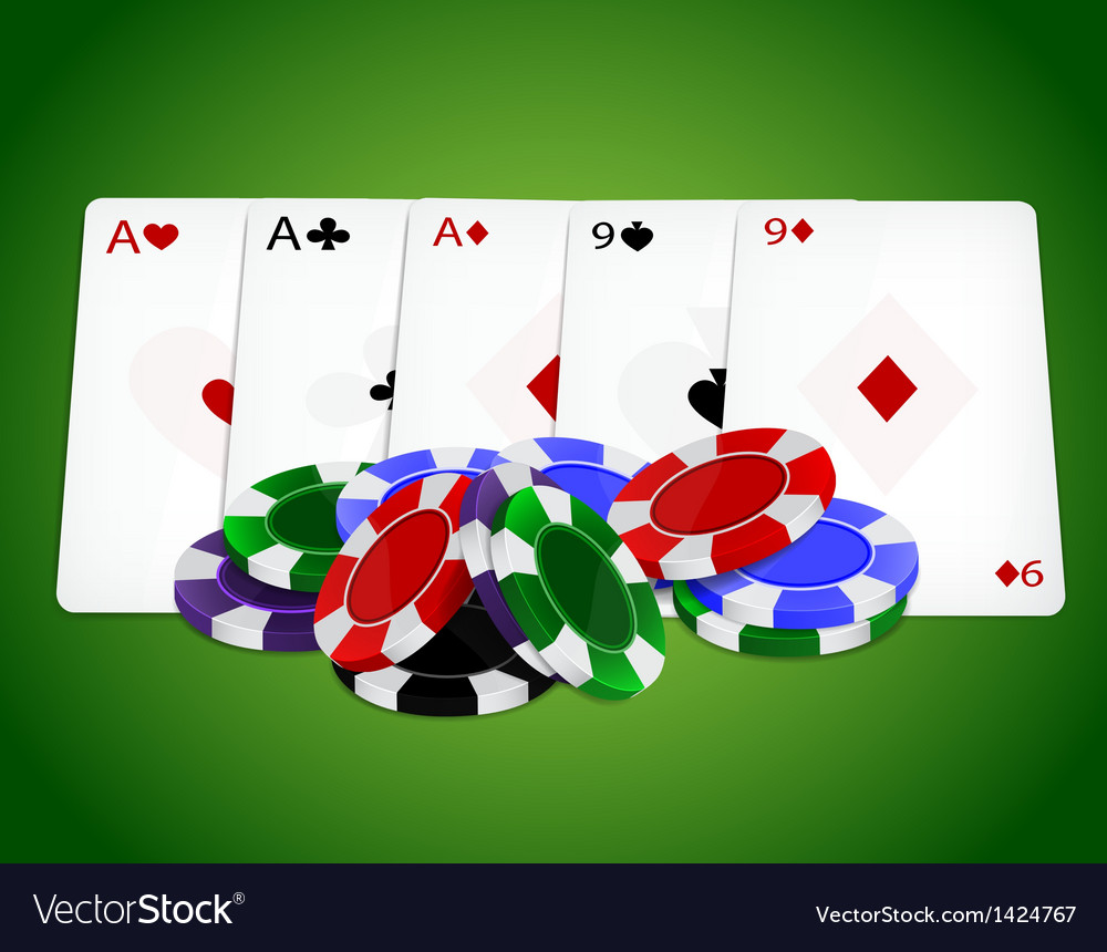 Pocker combinationfull house with chips vector | Price: 1 Credit (USD $1)