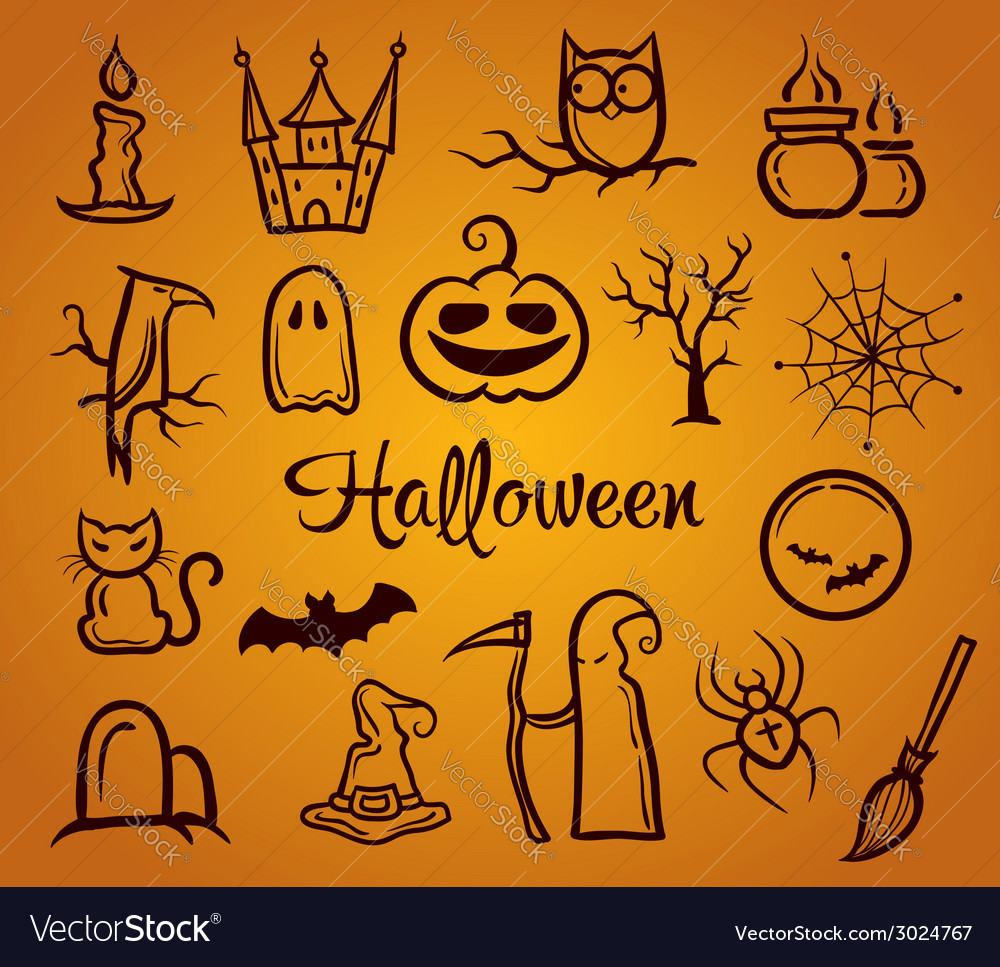 Retro graphical composition with halloween eleme vector | Price: 1 Credit (USD $1)