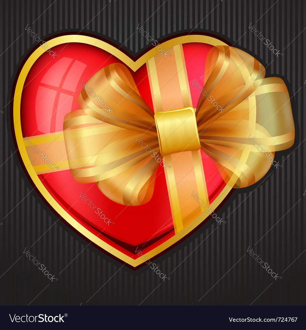 Valentines day heart with transparent gold bow eps vector | Price: 1 Credit (USD $1)