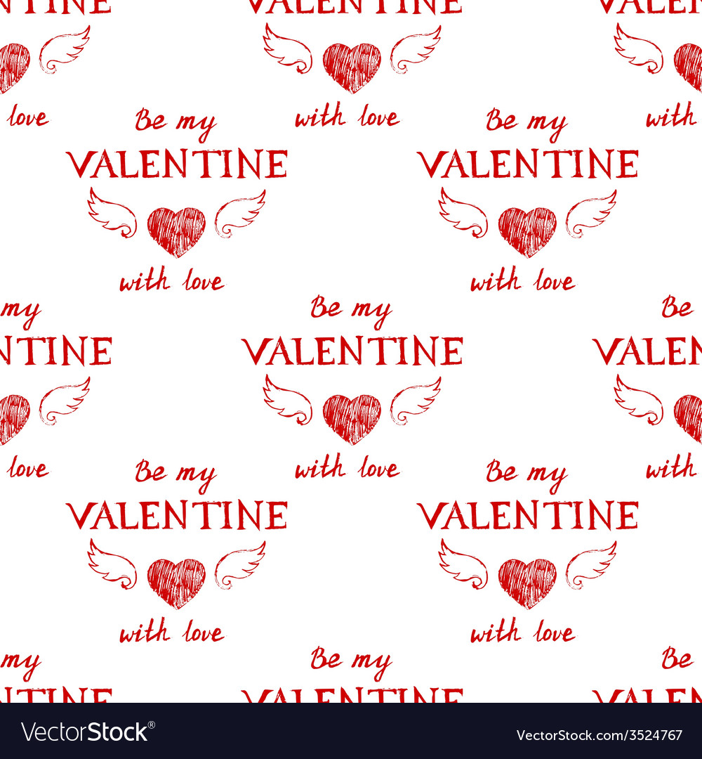 Valentines day typography seamless vector | Price: 1 Credit (USD $1)