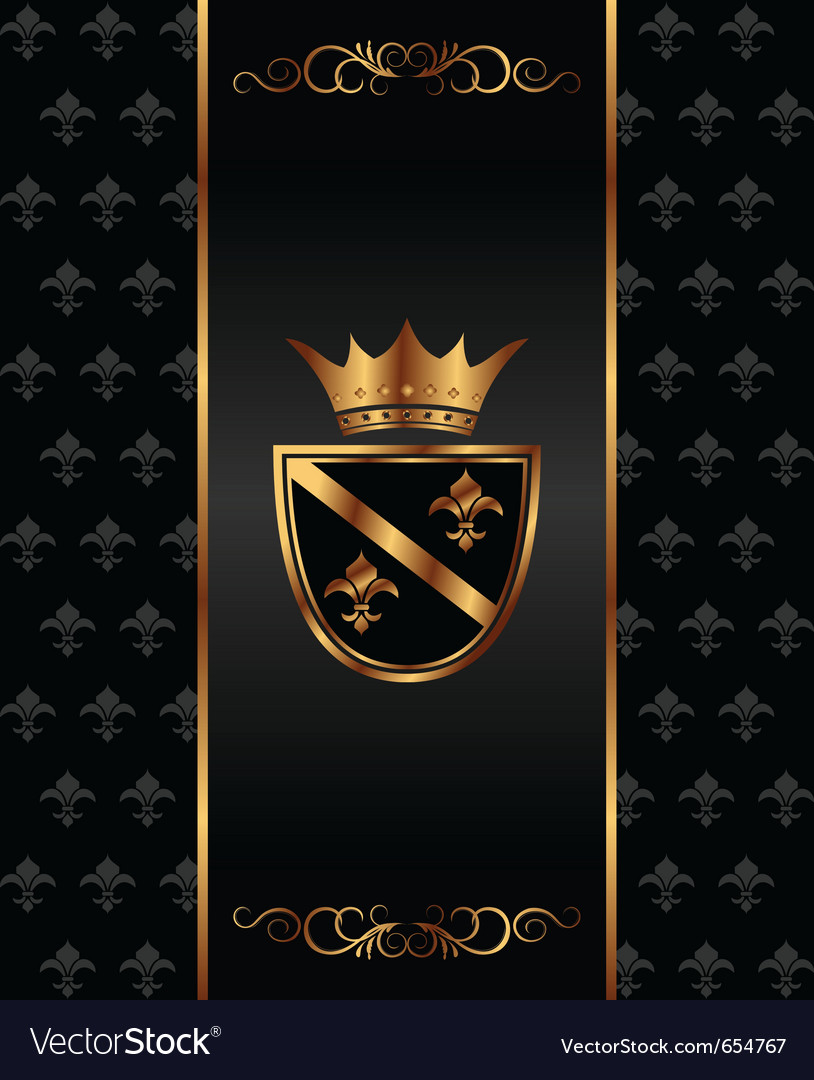 Vintage dark golden card with heraldic elements - vector | Price: 1 Credit (USD $1)