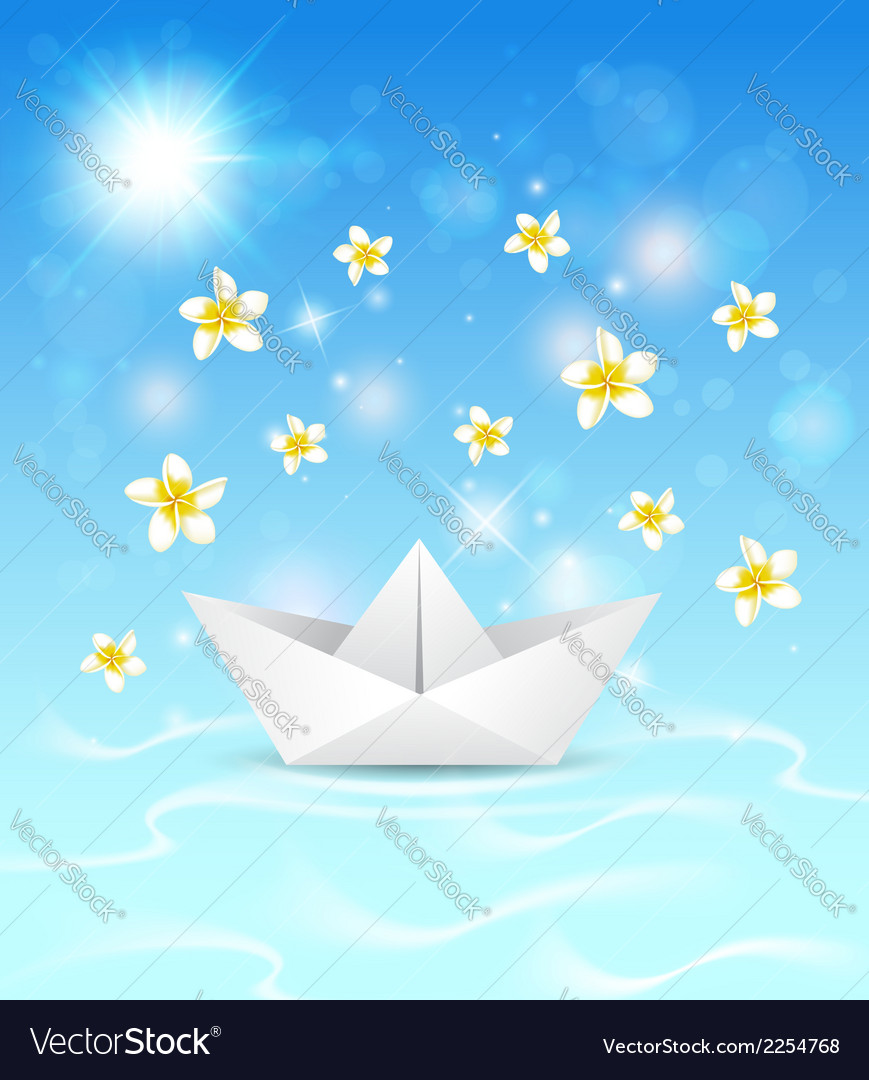 Background with paper boat and flowers vector | Price: 1 Credit (USD $1)