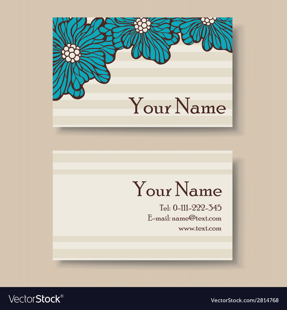 Business card with big blue flowers vector | Price: 1 Credit (USD $1)