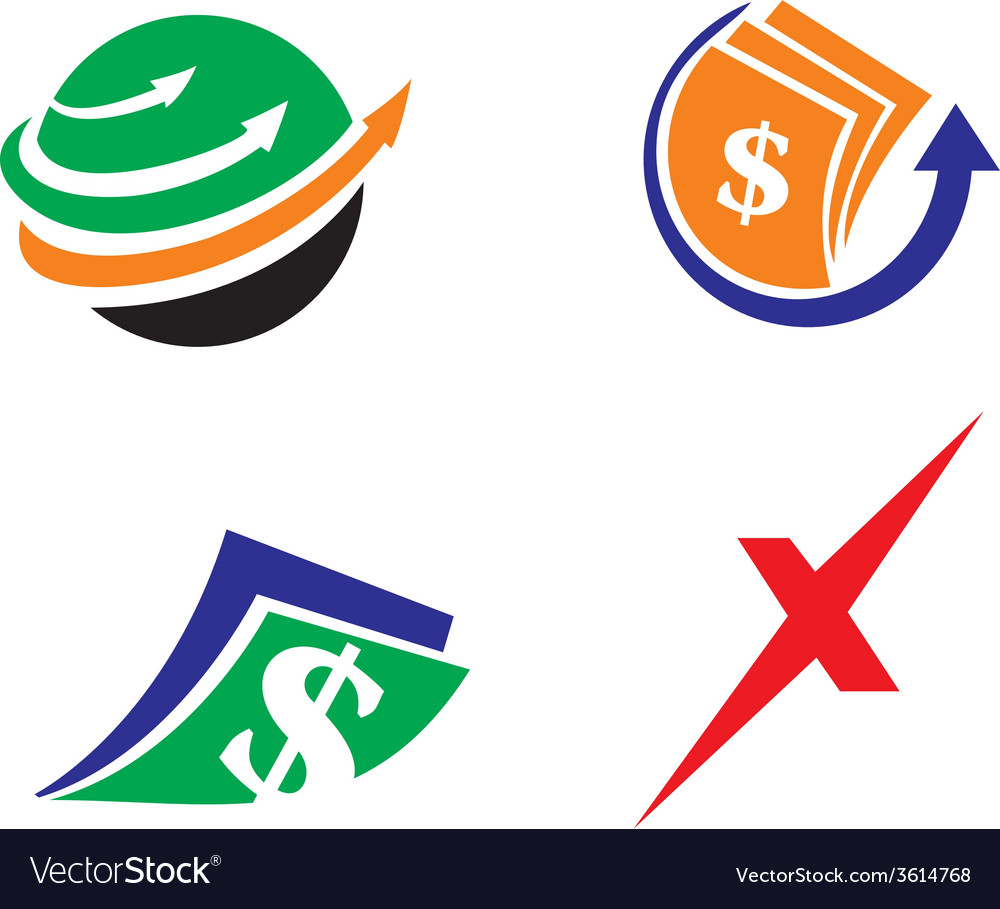 Cash transfer icon logo set vector | Price: 1 Credit (USD $1)