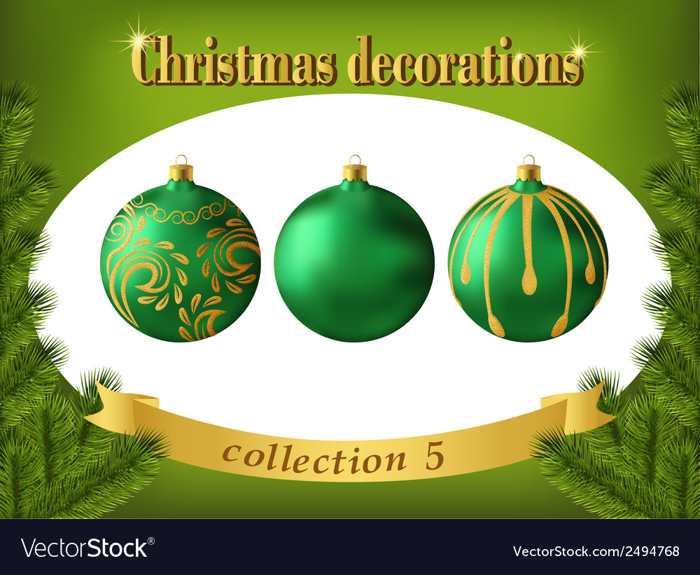 Christmas decorations collection of green glass vector | Price: 1 Credit (USD $1)