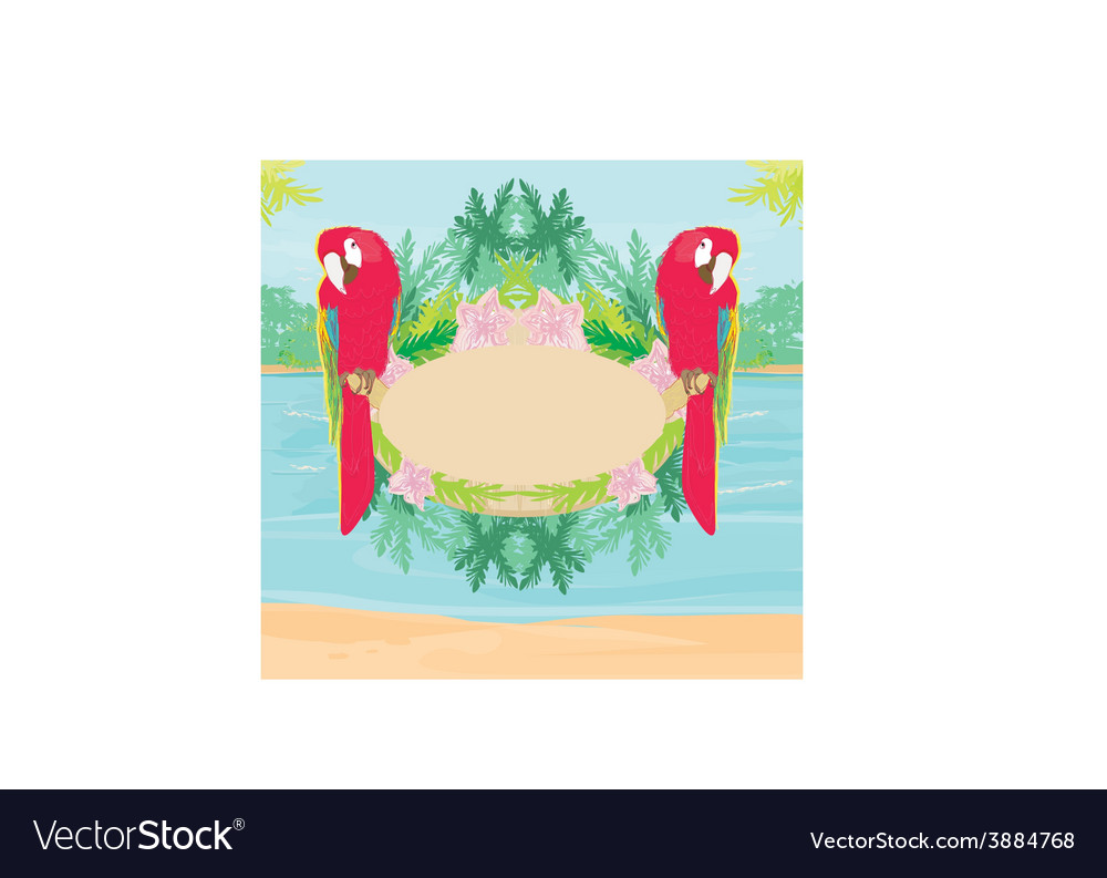Colourful parrot bird sitting on the perch - vector | Price: 1 Credit (USD $1)