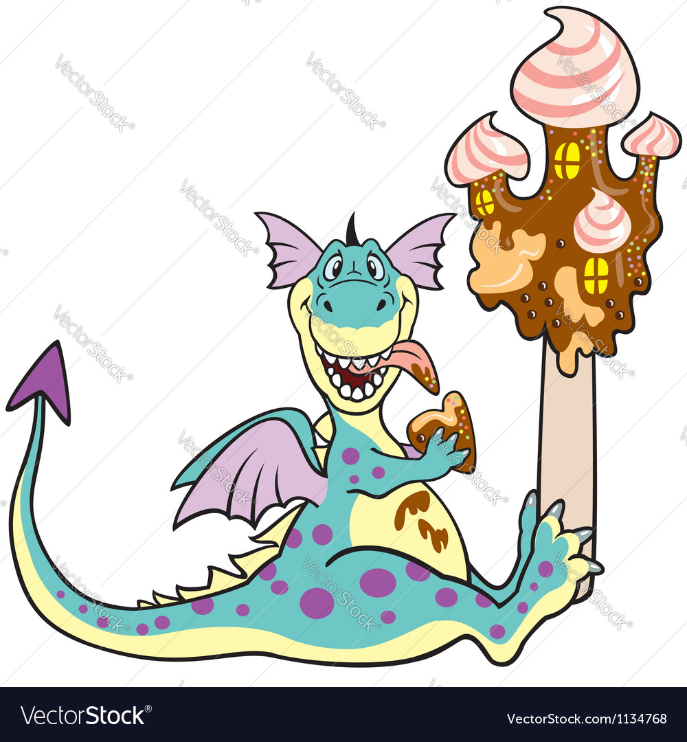 Dragon with ice cream vector | Price: 1 Credit (USD $1)