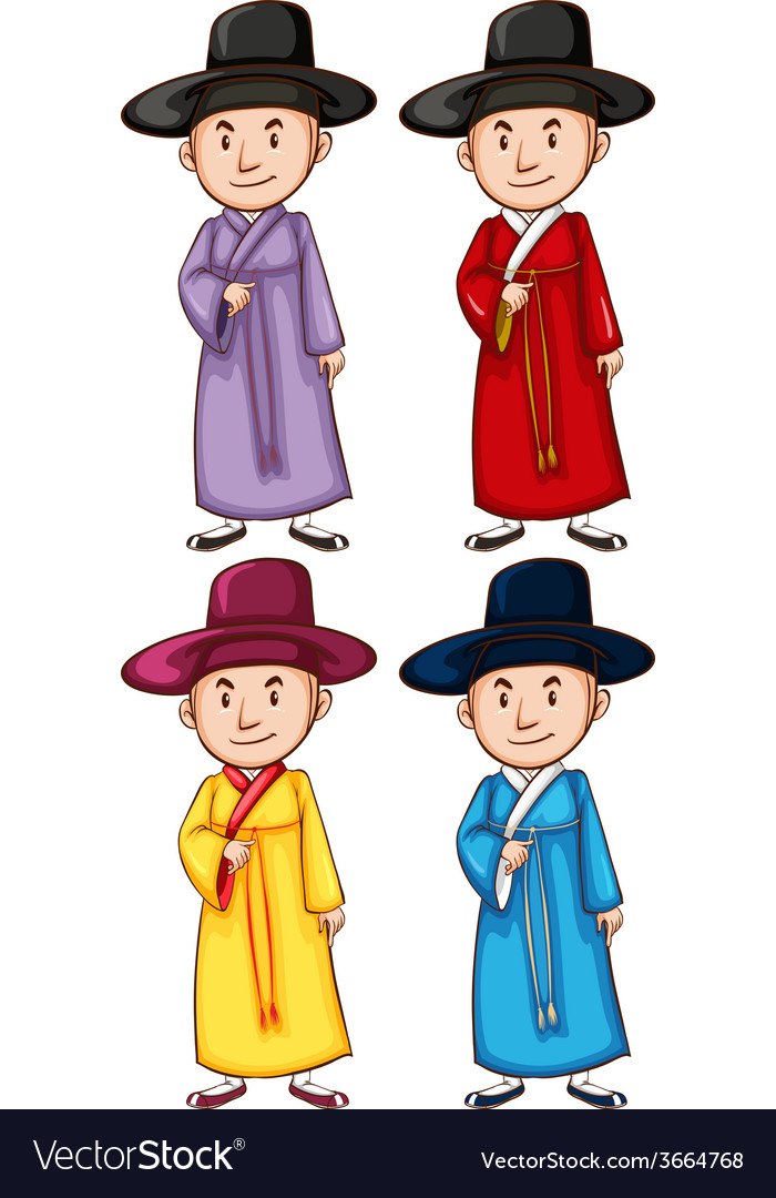 Four asian people vector | Price: 1 Credit (USD $1)