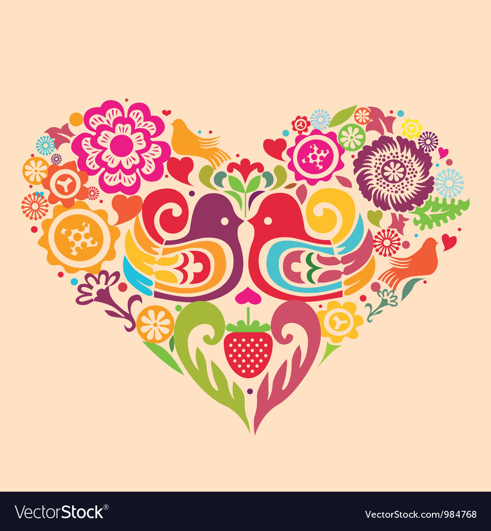 Paradise birds fantastic color heart vector | Price: 1 Credit (USD $1)