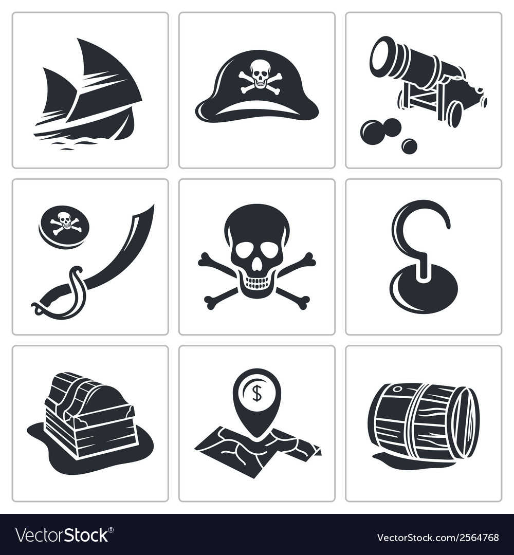 Pirates icon collection vector | Price: 1 Credit (USD $1)
